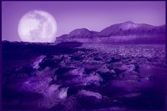 Ultraviolet natural background. Purple fantastic desert.  Color of year 2018. Stock Images