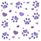 Ultraviolet paw print with hearts background vector illustration