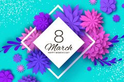 Ultraviolet pink paper cut flower 8 Maart De kaart van de Daggroeten van vrouwen Origami Bloemenboeket Ruitkader tekst vector illustratie