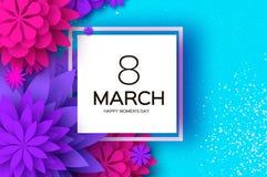 Ultraviolet pink paper cut flower 8 Maart De kaart van de Daggroeten van vrouwen Origami Bloemenboeket Vierkant frame tekst royalty-vrije illustratie