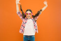 Ultraviolet protection crucial while polarization more preference. Optics and eyesight. Child happy good eyesight. Summer accessory. Eyesight and eye health royalty free stock images