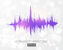 Ultraviolet purple amplitude modulation. Spectrum analyzer, music equalizer, sound wave. Color of the year 2018.  Royalty Free Stock Photography