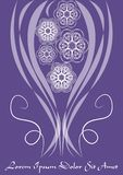 Ultraviolet template with monoline white lace patterns in vintage style, trendy purple color combined with white. Elegant invitation, announcement design Royalty Free Stock Image