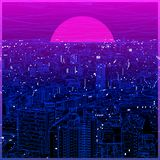Cityscape ultraviolet lineart in low poly design stock photo