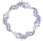 Ultraviolet Watercolor Flower wreath Leaf summer. Isolated on white background for greeting cards for the wedding, St. Valentine`s Day royalty free illustration