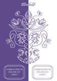Ultraviolet and white vertically divided background with monoline vintage flourish patterns, two text frames, trendy. Purple color combined with white, elegant vector illustration