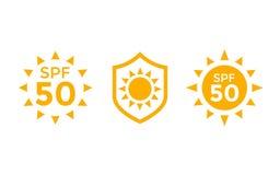 ULTRAVIOLETA, protección del sol, iconos del vector del SPF 50 en blanco ilustración del vector