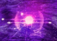 Ultraviolett utrymmebakgrund med satelliten royaltyfri foto