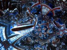 ultravioletter Fractal 3d der zukünftigen Stadt Entwicklungszivilisation in der Galaxie Lizenzfreie Stockfotografie