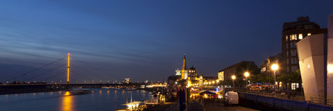Ultrawide panorama of Dusseldorf old town at night Royalty Free Stock Photo