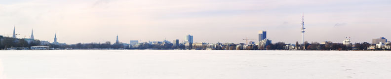 Ultrawide panorama of Hamburg, frozen Alster lake Royalty Free Stock Photo