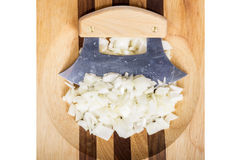 Ulu Knife and Chopped Onions Royalty Free Stock Photos