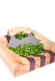 Ulu Knife and Chopped Parsley Stock Images