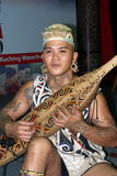 "THE ULU plays Sape. A young man from the tribe orangulu play greetings from the guitar-shaped musical instrument orangulu tribes known as ""Sape Stock Images"