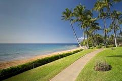 Ulua海滩的,毛伊,夏威夷南岸木板走道  图库摄影