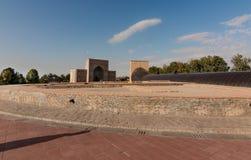 Ulugbek observatory on the background sky, medival, Samarkand stock photography