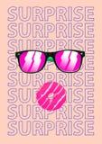 ululación Las gafas de sol y un buñuelo se apilan como rostro humano sorprendido Concepto facial de las emociones Diseño moderno  ilustración del vector