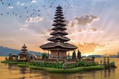 Ulun Danu temple Beratan Lake in Bali Indonesia. At sunset Royalty Free Stock Images