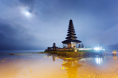 Ulun Danu temple with moon Stock Photo