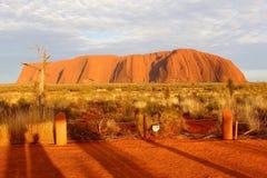 Uluru艾瑞斯岩石和橙色日出颜色 库存照片