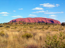 Uluru. Widw view of Uluru, a large rock formation in central Australia considered one of the great wonders of the world Stock Photo