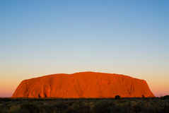 Uluru. (Ayers Rock) at Sunset, a world heritage landscape in outback Australia stock photo