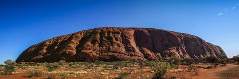 Panoramic view on Uluru Uluru, or Ayers Rock, a massive sandstone monolith in the heart of the Northern Territory, Australia stock image