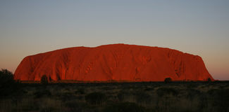 Uluru Ayers Rock at Sunset. The vivid colours of Uluru at sunset, Northern Territory, Outback Australia Royalty Free Stock Image