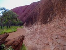 Uluru, Northern Territory, Australia 02/22/18. Close up view from the base walk trail of the ridges and textures in the rock stock image