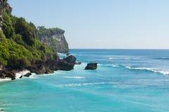 UluWatu. Coastline with beaautiful rocky cliffs and turquoise wavey sea Stock Photo