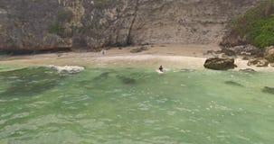 Uluwatu Beach View aerial 4k. Aerial of the beach in Uluwatu, Bali. 4k shot stock video footage