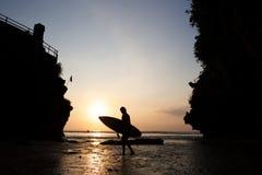 Uluwatu fläck på solnedgången på Bali Royaltyfri Fotografi