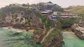 Uluwatu Rocks aerial slow motion stock video footage