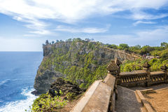 Uluwatu Temple Point In Southern Bali. Overlooking the stunning Uluwatu template and the Balinese ocean Stock Photography