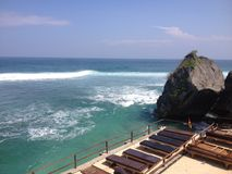 Uluwatu. View from the Pura Luhur Uluwatu, Balinese sea temple in Bali. Built in the 11th century, it is one of nine directional temples meant to protect Bali stock images