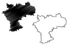 Ulyanovsk Oblast mapy wektor royalty ilustracja