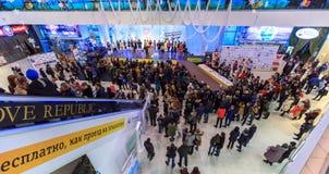 ULYANOVSK, RUSLAND, 03 DECEMBER, 2016: Schoonheidswedstrijd Misser Ulyanovsk in wandelgalerij op 03 December, 2016 in Ulyanovsk,  Stock Afbeeldingen