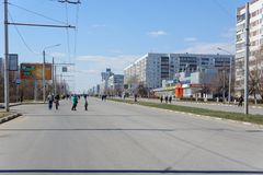 Ulyanovsk, Russia - April 20, 2019: City without cars. The planet ran out of petrol. Marginal fuel prices. Eco-friendly city witho stock photo