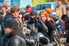 ULYANOVSK, RUSSIA - APRIL 30, 2016 Motorcycle season opening. Annual motorbike fans meeting and parade. Stock Image