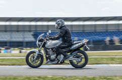 Ulyanovsk, Russia - June 23, 2018. Training race of motorcyclists on a motorcycle on a sports track. Motion blur.  stock images