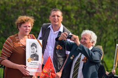 ULYANOVSK, RUSSIA - MAY 9, 2016: People are waiting for the procession of the Immortal regiment Stock Photography