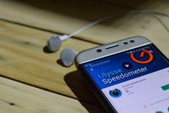 Ulysse车速表App在智能手机屏幕上的dev应用 库存图片