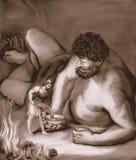 Ulysses dolewania wino w Gigantycznego puchar Sepiowego royalty ilustracja