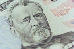 Ulysses Grant på personen för USA femtio eller makrocloseupen för 50 räkning Arkivbilder