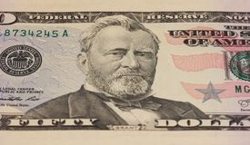 Ulysses Grant portrait on 50 dollar note. Ulysses Grant portrait on 50 dollar note Royalty Free Stock Images