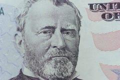 Ulysses Grant sulla persona degli Stati Uniti cinquanta o sul primo piano di macro di 50 fatture Immagini Stock Libere da Diritti