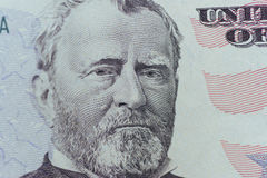 Ulysses Grant on the US fifty person or 50 bill macro closeup royalty free stock images