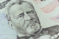 Ulysses Grant on the US fifty person or 50 bill macro closeup. Money us Stock Images