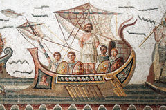 Ulysses mosaic. The famous ancient roman mosaic of ulysses in the bardo museum of tunis Royalty Free Stock Images