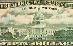 Ulysses S. Grant face on US fifty or 50 dollars bill macro. The Capitol Building as depicted on the U.S. 50 Dollar Bill. Macro photo stock photo
